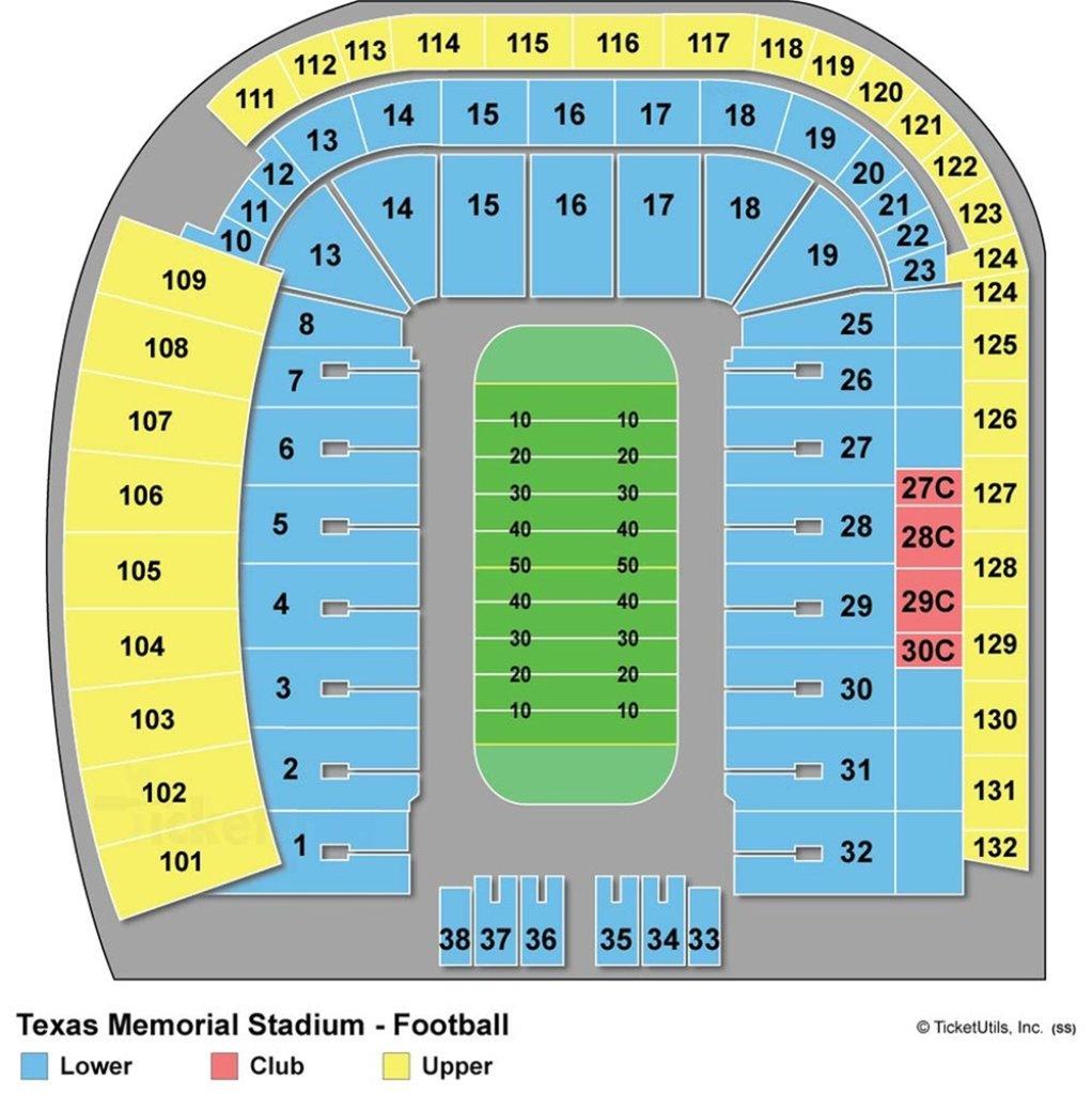 Darrell K Royal-Texas Memorial Stadium - Maplets - University Of Texas Stadium Seating Map
