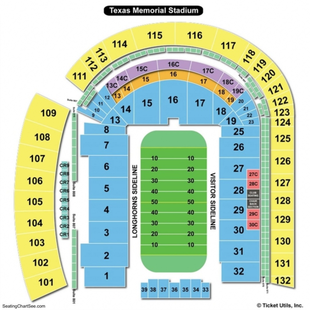 Darrell K Royal Texas Memorial Stadium Seating Chart | Seating - Texas Longhorn Stadium Seating Map