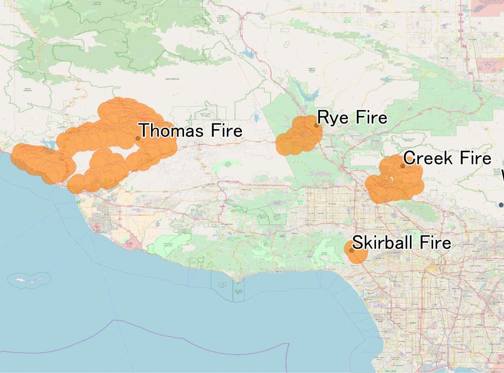 December 2017 Southern California Wildfires - Wikipedia - Southern California Fire Map