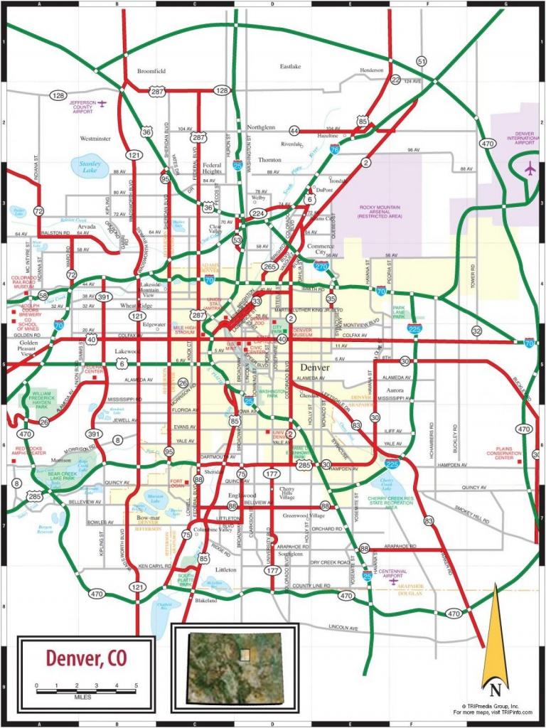 Denver Co Map - Map Denver Colorado (Colorado - Usa) - Denver City Map Printable