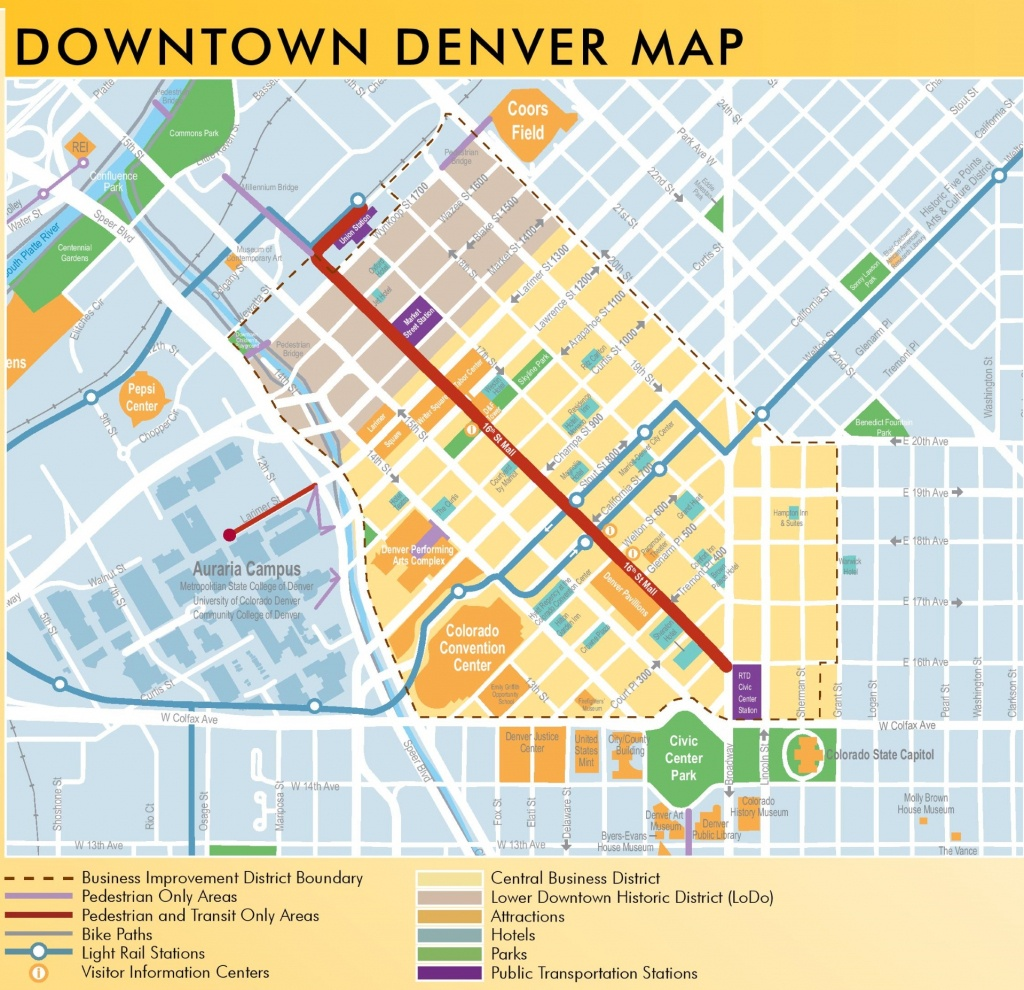 Denver Downtown Map - Denver City Map Printable