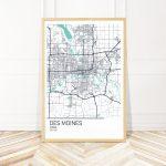 Des Moines Iowa Map Art Print Map Of Des Moines Iowa City | Etsy – Printable Map Of Des Moines Iowa