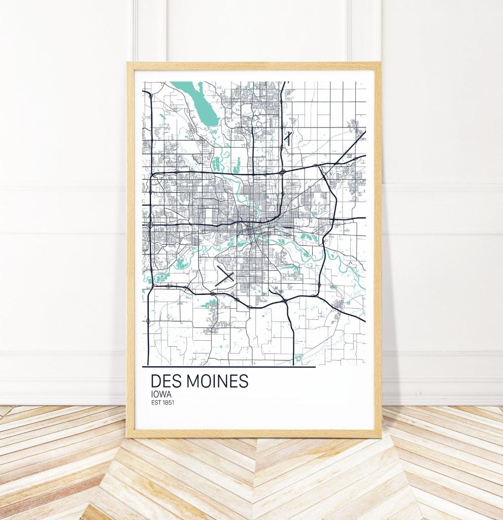Des Moines Iowa Map Art Print Map Of Des Moines Iowa City | Etsy - Printable Map Of Des Moines Iowa