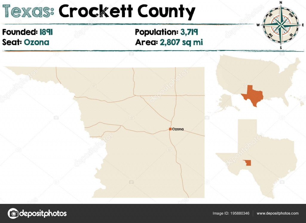 Detailed Map Crockett County Texas Usa — Stock Vector © Malachy666 - Crockett Texas Map