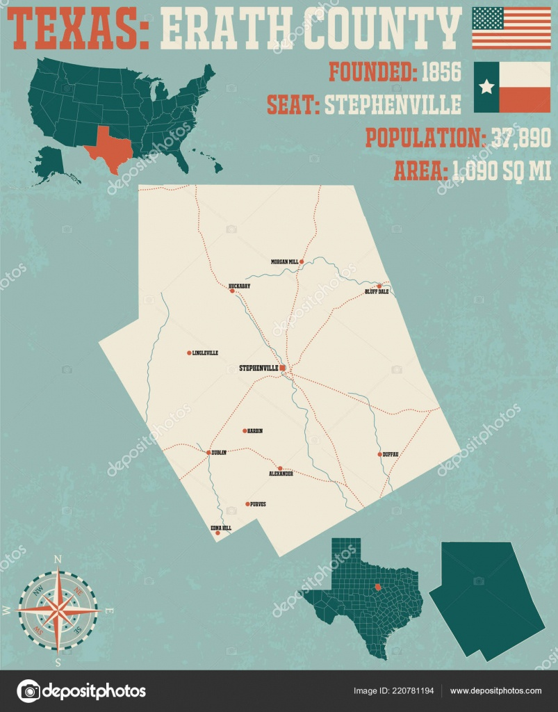 Detailed Map Erath County Texas Usa — Stock Vector © Malachy666 - Erath County Texas Map