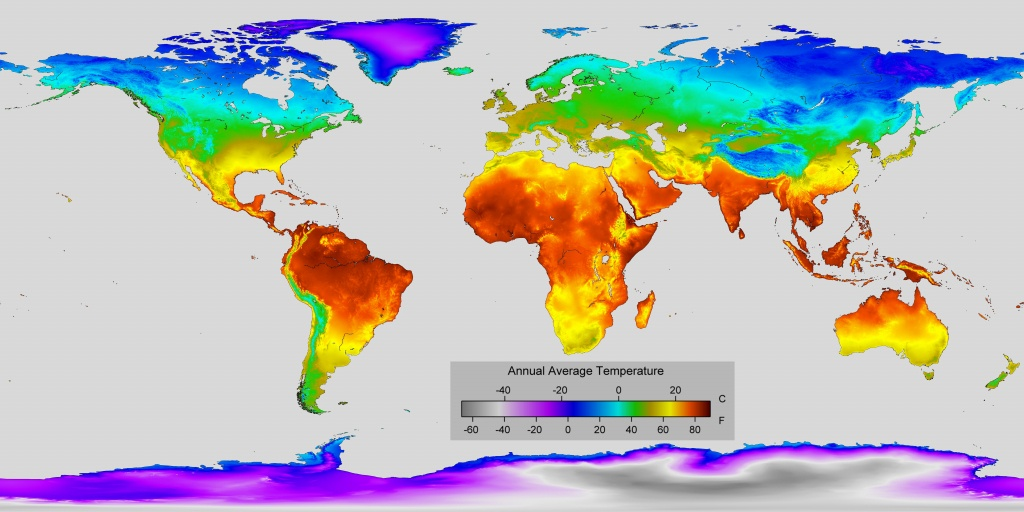 Detailed Map Of Annual Average Temperature Around The World : Mapporn - Florida Temp Map