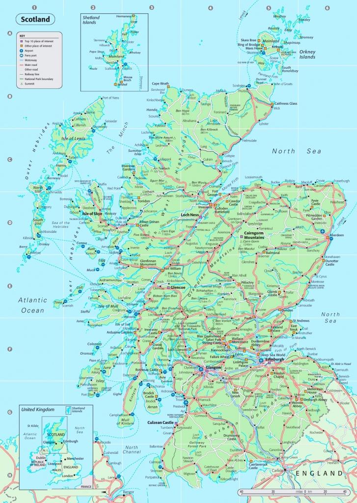 Detailed Map Of Scotland - Detailed Map Of Scotland Printable