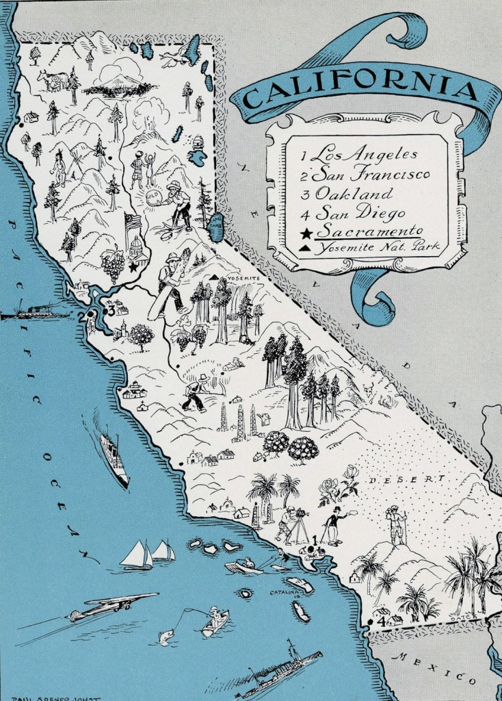 Detailed Tourist Illustrated Map Of California State   California - Illustrated Map Of California