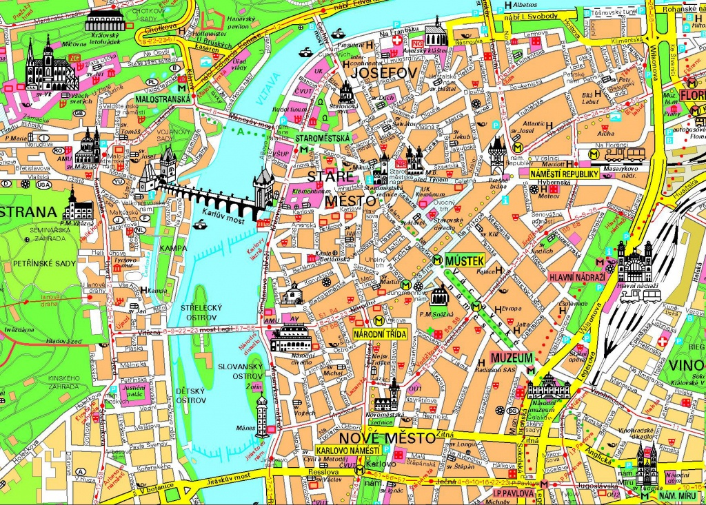 Detailed Tourist Map Of Prague City Center. Prague City Center - Printable Map Of Prague City Centre
