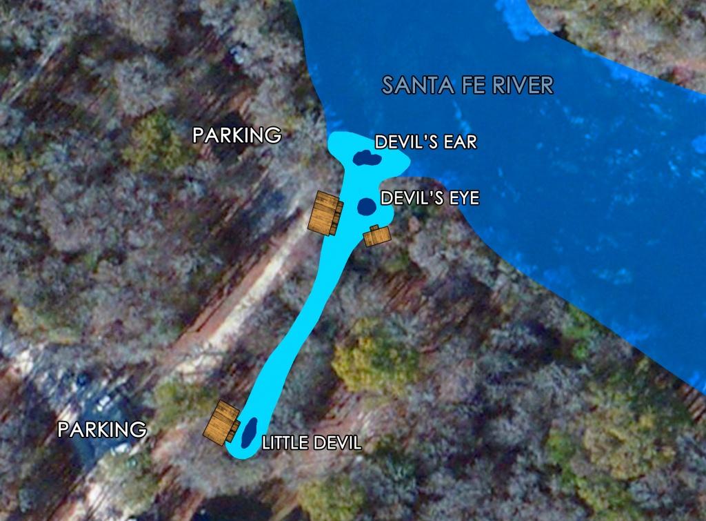 Devil's Spring System Scuba Diving   Ginnie Springs   High Springs, Fl - Florida Springs Diving Map