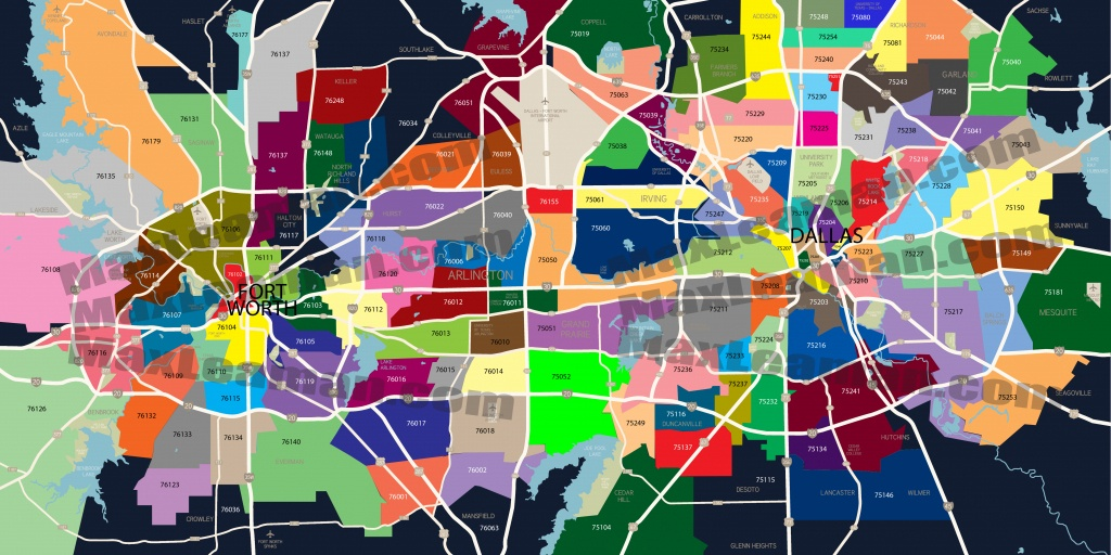 Dfw Zip Code Map   Mortgage Resources - Printable Map Of Dallas Fort Worth Metroplex