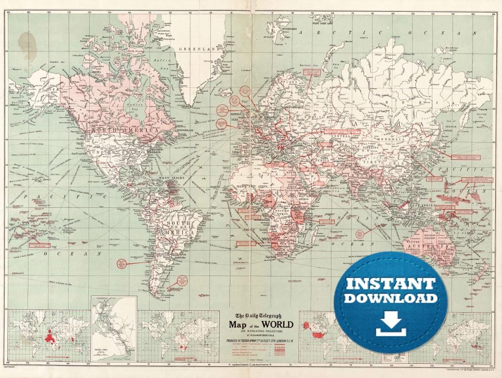 Digital Old World Map Printable Download. Vintage World Map.   Etsy - Vintage Map Printable