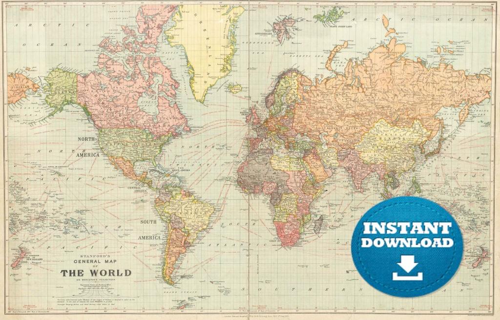 Digital Old World Map Printable Download. Vintage World Map. | Etsy - Vintage World Map Printable