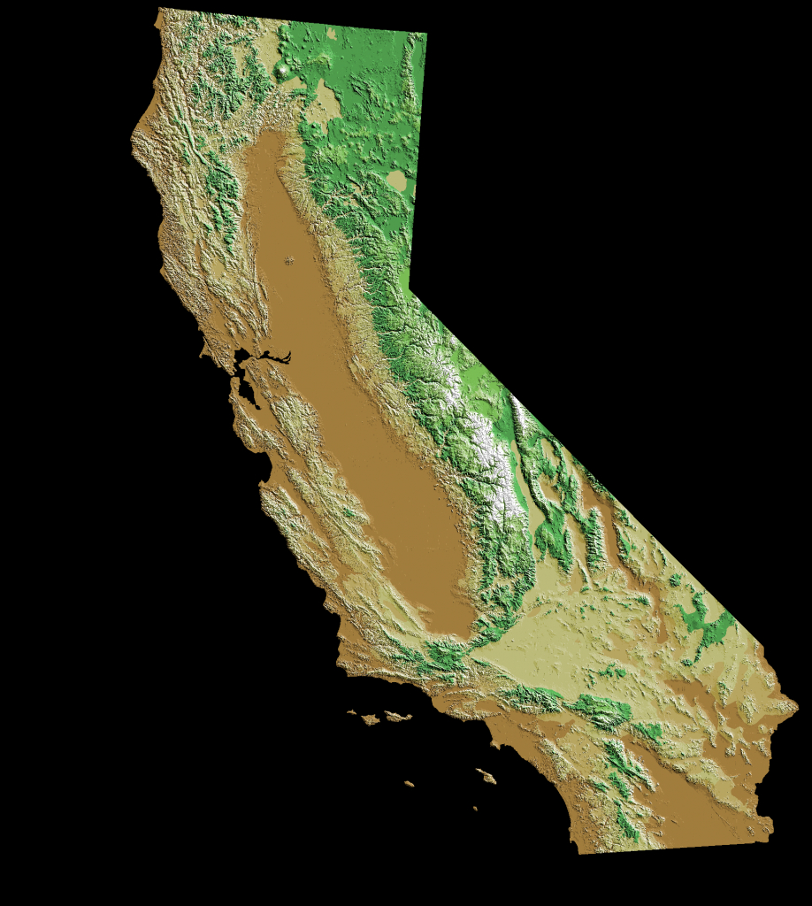 Digital Topographic Elevations Map Of California | Abstract Facts - California Topographic Map Elevations