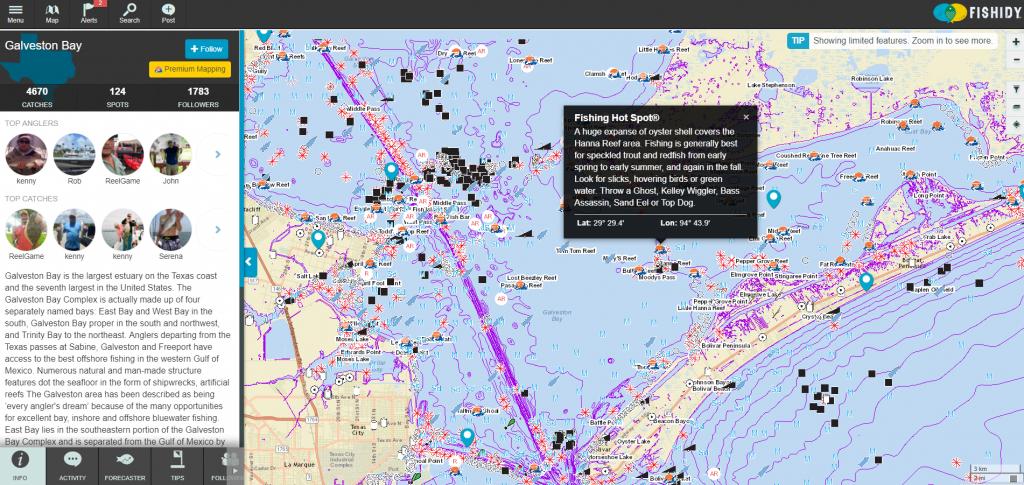 Discover Fishing Hot Spots On Galveston Bay!   Texas Fishing Spots - Texas Coastal Fishing Maps