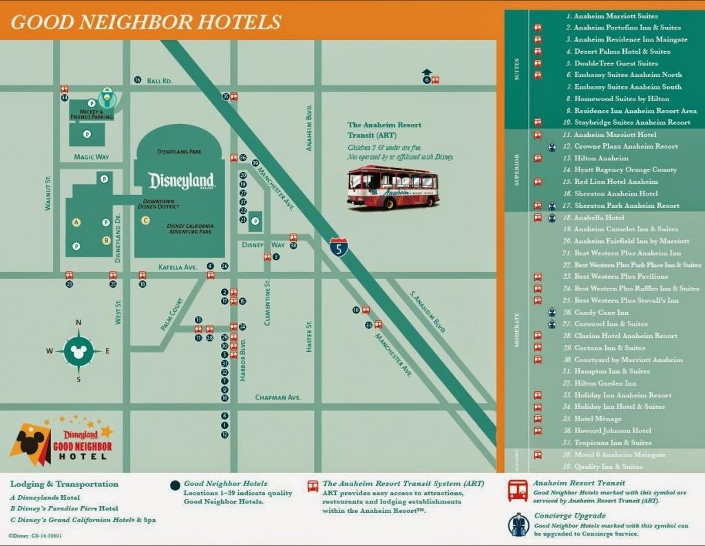 Disneyland Good Neighbor Hotel Map | Disney | Disneyland, Disneyland - Map Of Hotels Around Disneyland California