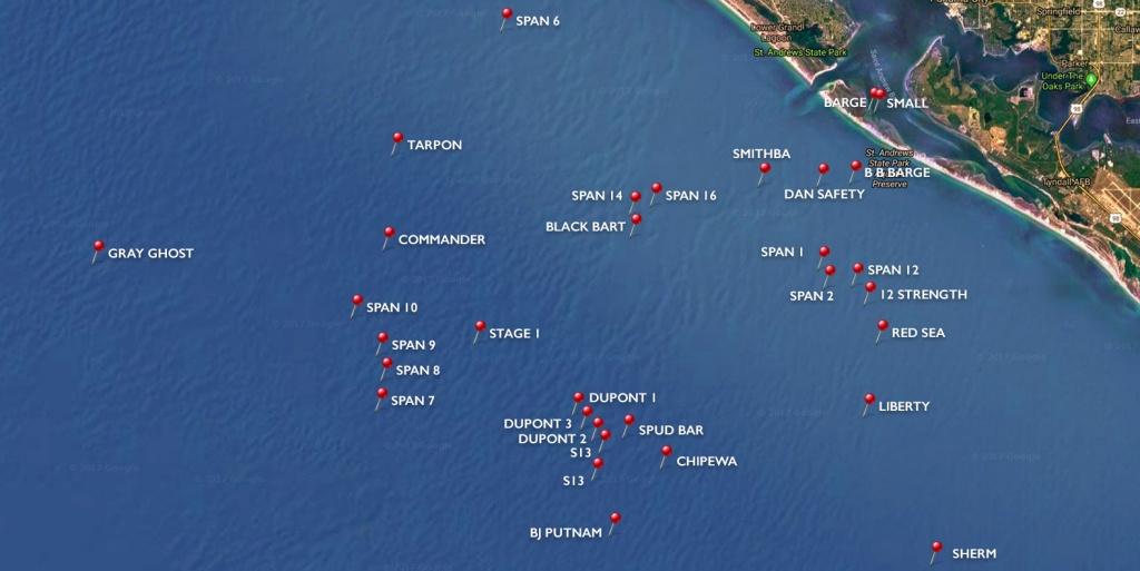 Dive Sites | Panama City Diving - Florida Wreck Diving Map