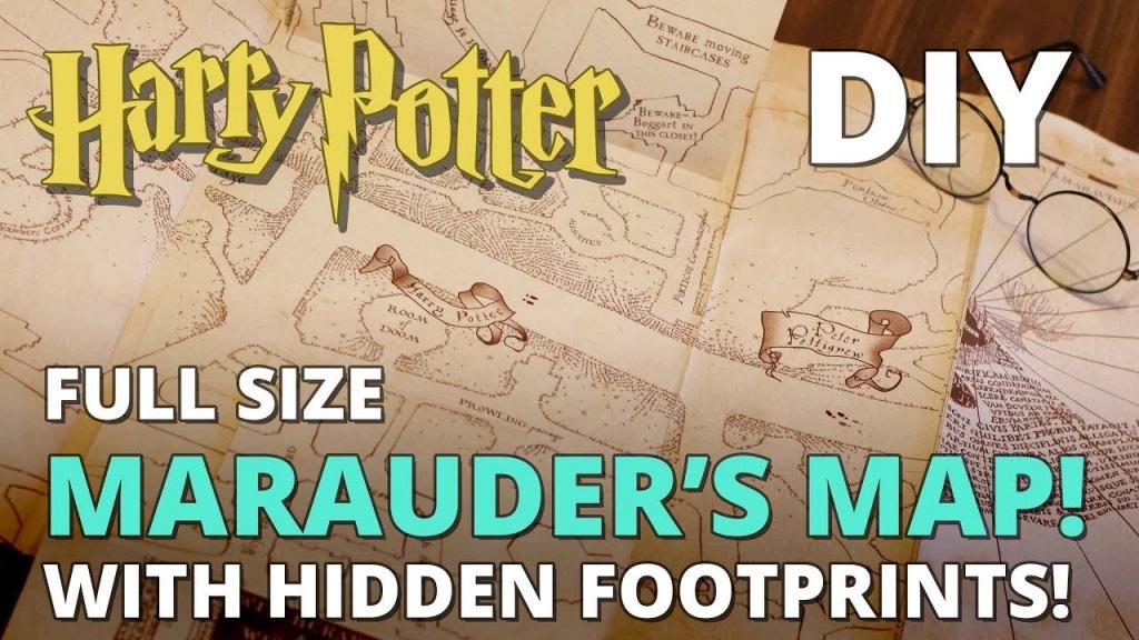 Diy Marauder's Map With Hidden Footprints! Full Size Replica - Muggle Magic - Marauder's Map Replica Printable