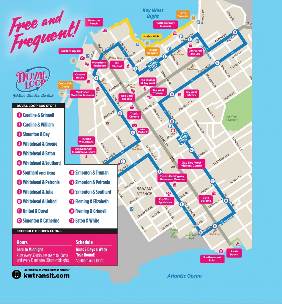 Document Center / Hop On - Hop Off The Free Duval Loop! / Key West, Fl - Printable Street Map Of Key West Fl