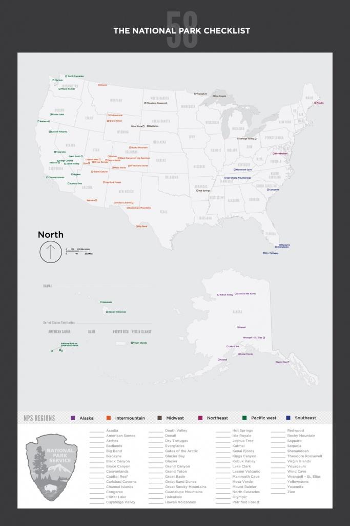 Download U.s. National Parks Checklist Map | National Parks - Printable Map Of Us National Parks