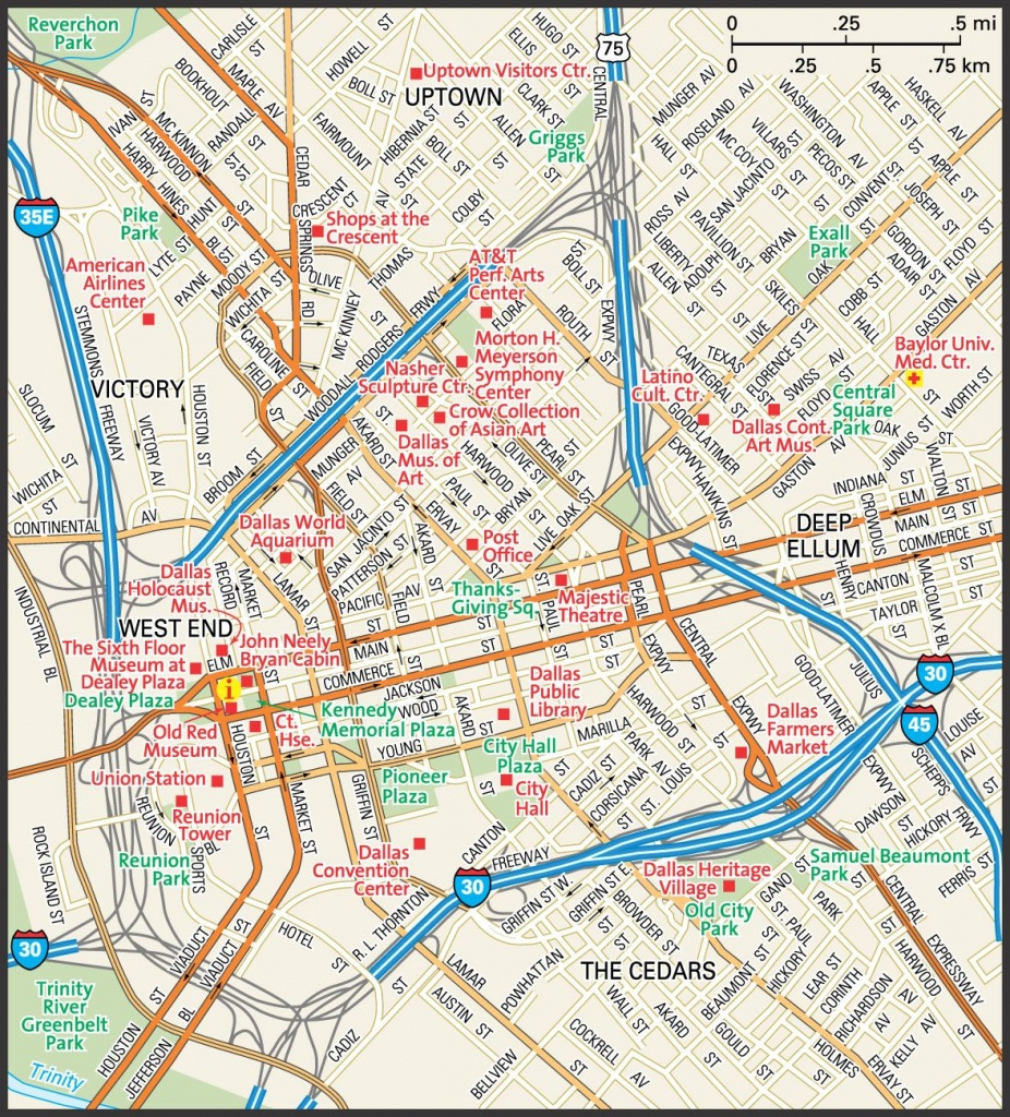 Downtown Dallas Map And Guide   Downtown Dallas Street Map   Travel - Map Of Downtown Dallas Texas
