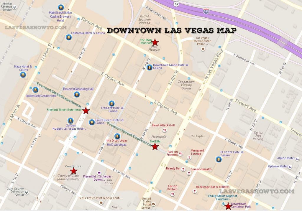 Downtown Las Vegas Map (2019) | Lasvegashowto - Printable Map Of Downtown Las Vegas