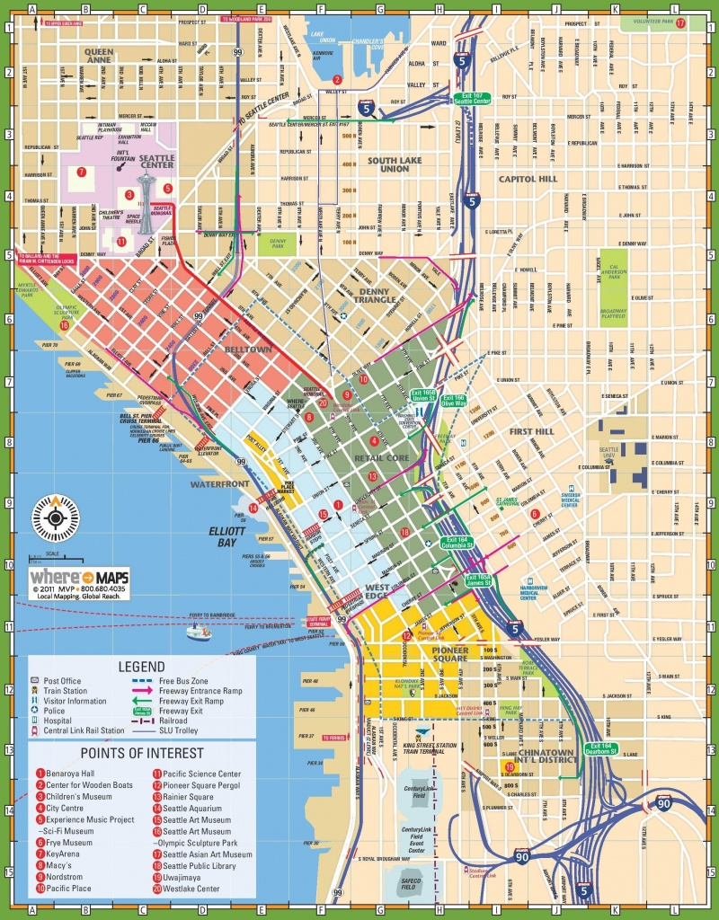 Downtown Seattle Street Map - Map Of Downtown Seattle Streets - Printable Map Of Downtown Dc