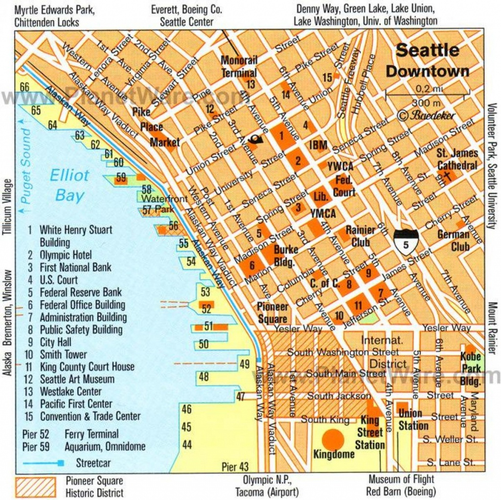 Downtown Seattle Walking Map - Walking Map Of Downtown Seattle - Printable Map Of Downtown Seattle