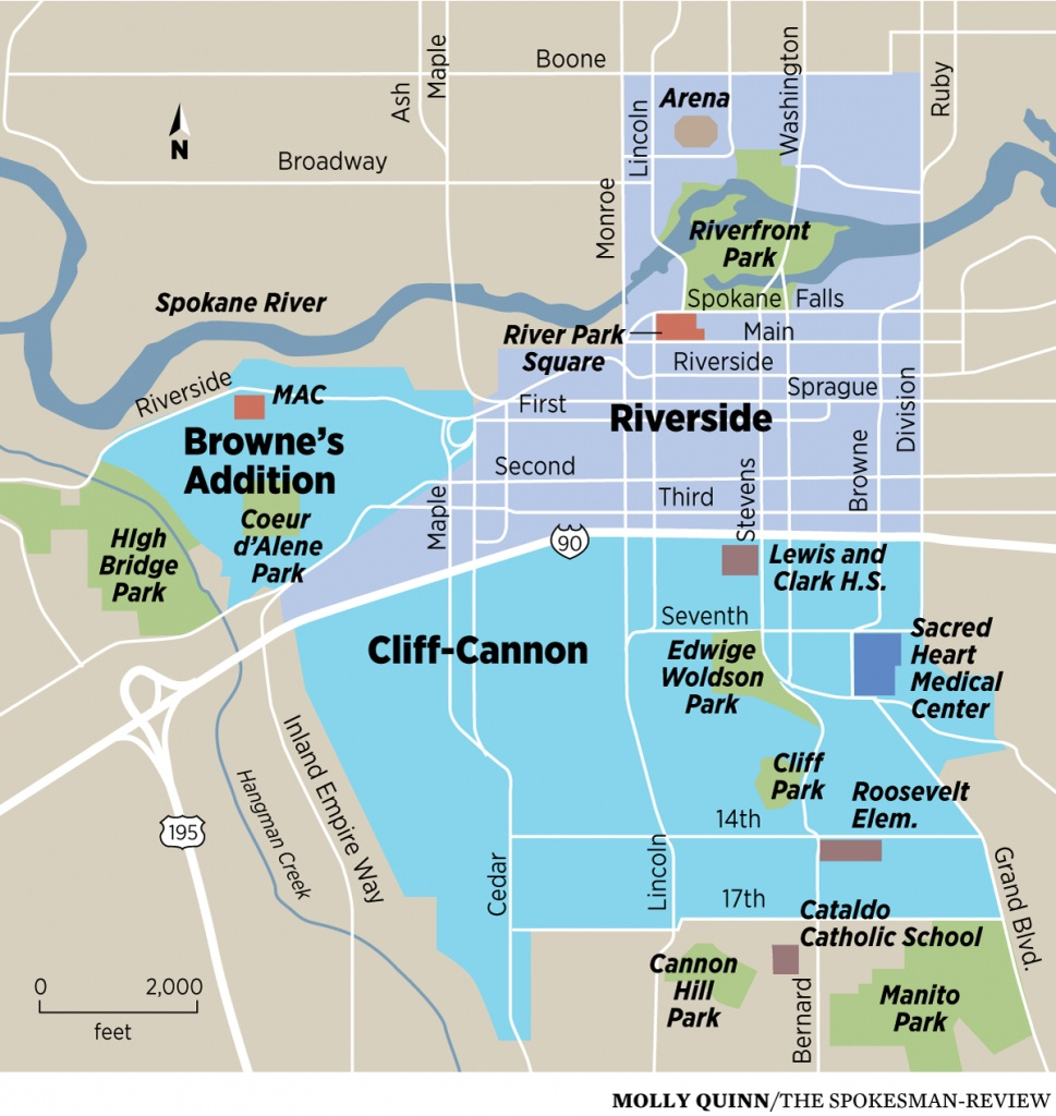 Downtown Spokane A Crucible For Housing, Transit And Business Ideas - Downtown Spokane Map Printable