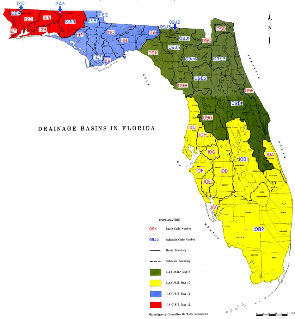 Drainage Basins In Florida, 1967 - Florida Water Hardness Map