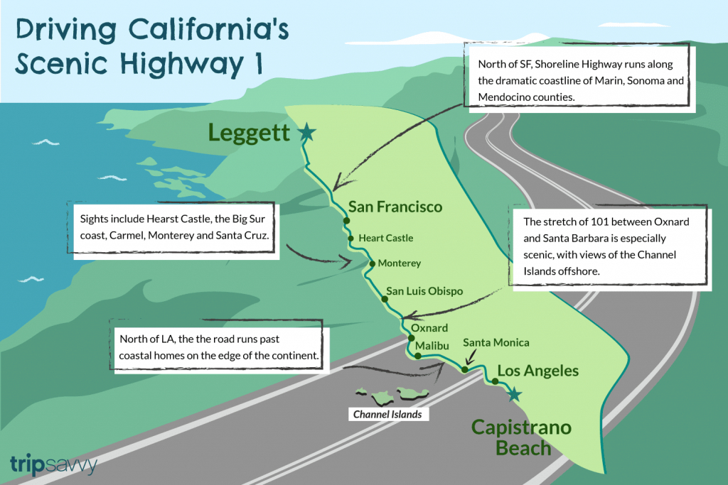 Driving California's Scenic Highway One - Route 1 California Map
