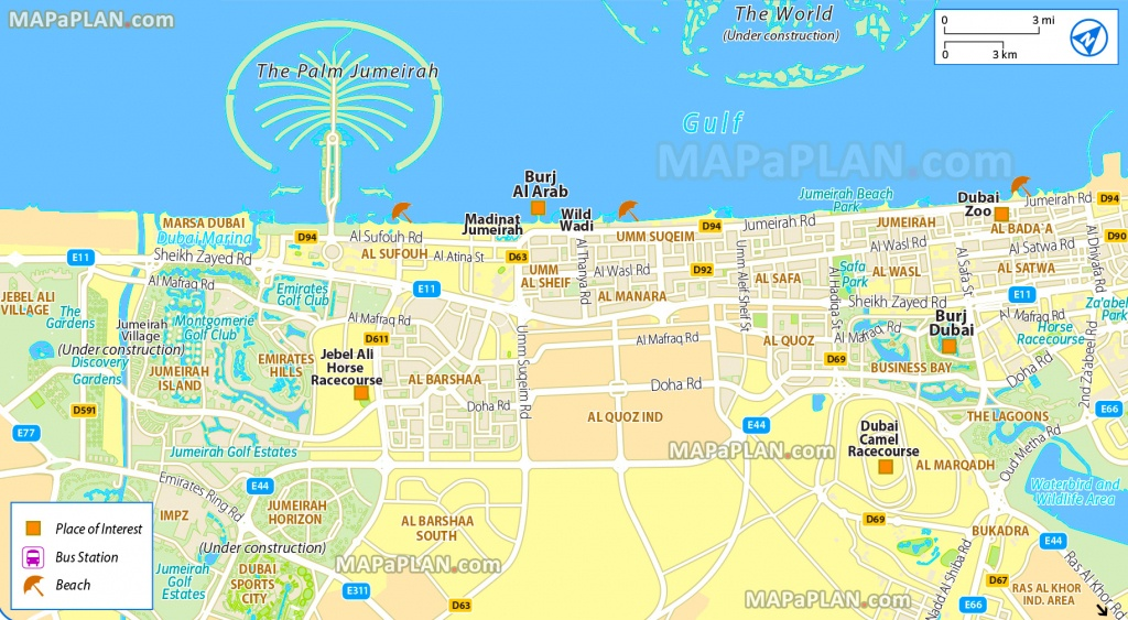 Dubai Maps - Top Tourist Attractions - Free, Printable City Street Map - Printable Map Of Dubai