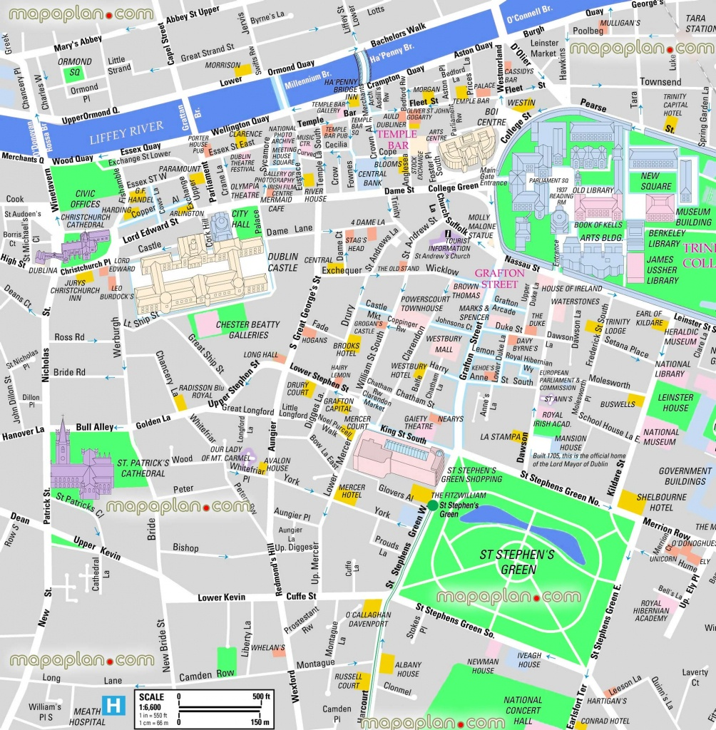Dublin Maps - Top Tourist Attractions - Free, Printable City Street - Printable Map Of Dublin