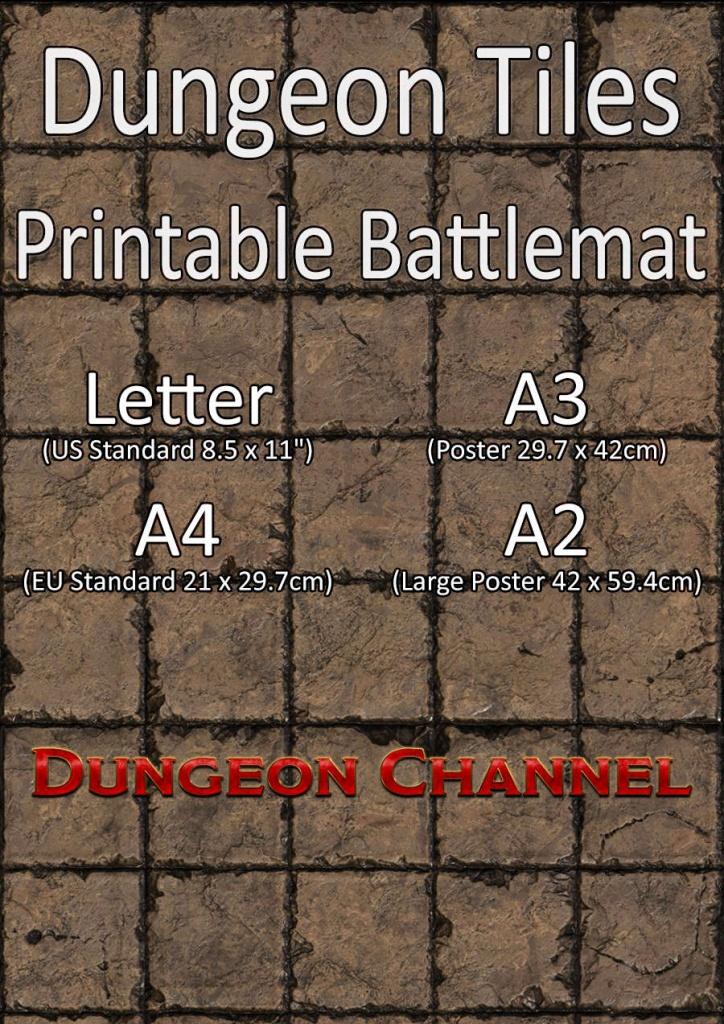 Dungeon Tiles - Printable Battlemat - Dungeon Channel - Printable D&d Map Tiles