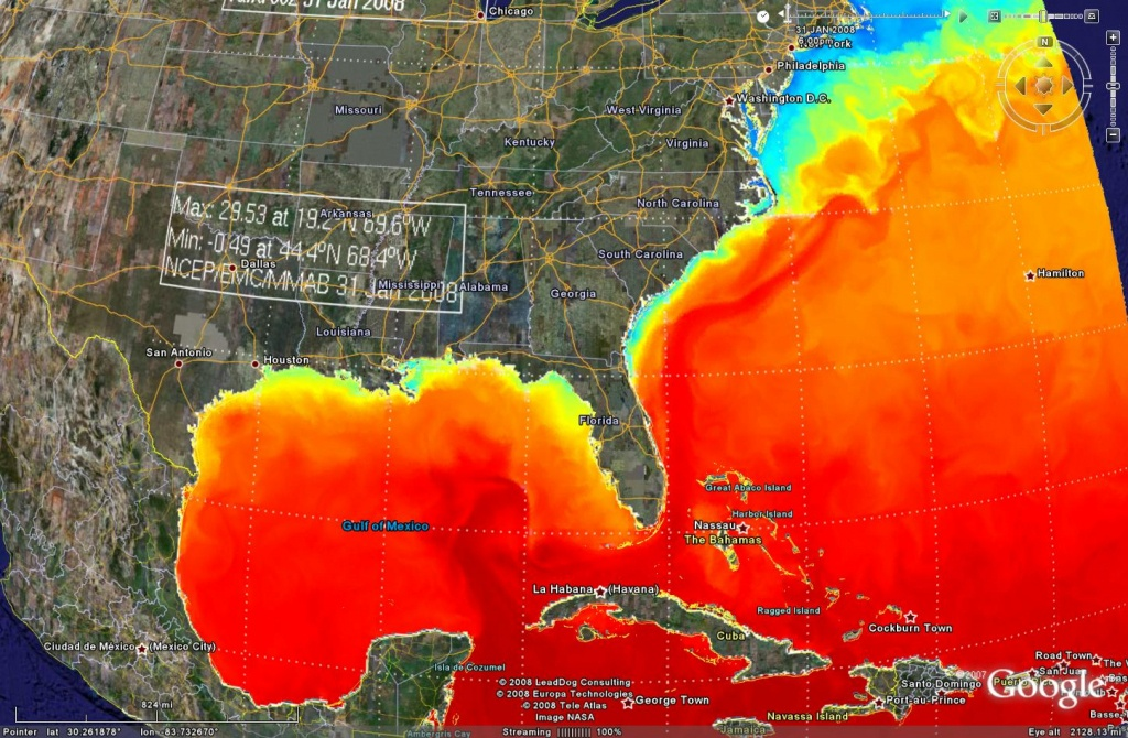 Earthnc | Weather And Tides - Florida Water Temperature Map