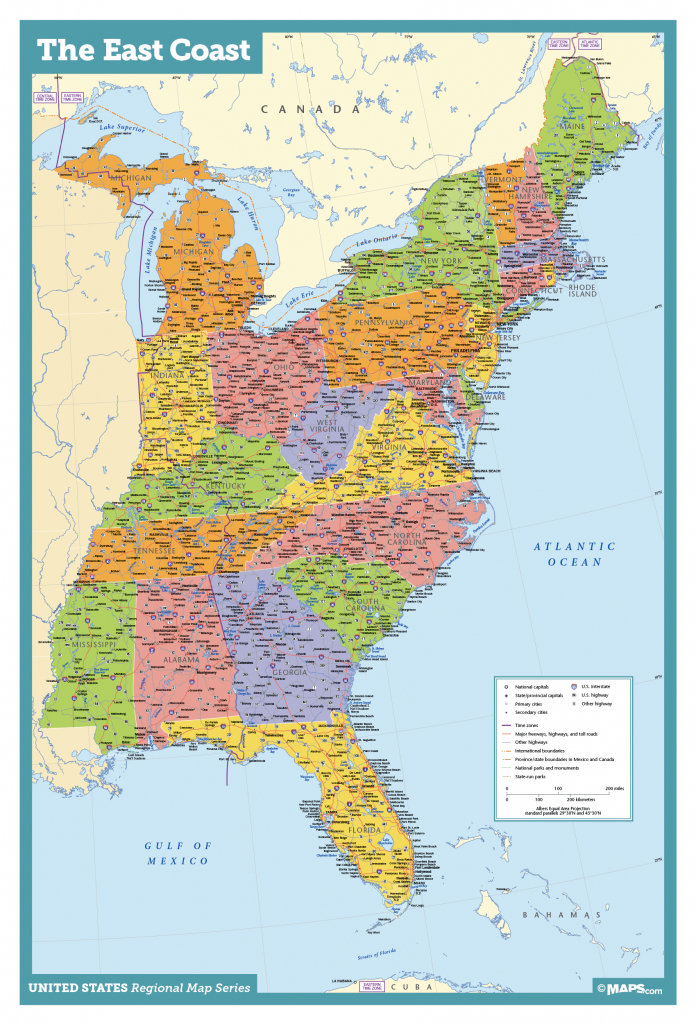 East Coast Usa Wall Map - Maps - Printable Map Of Eastern United States