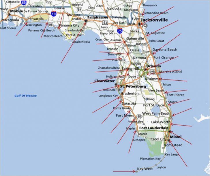 Florida East Coast Beaches Map