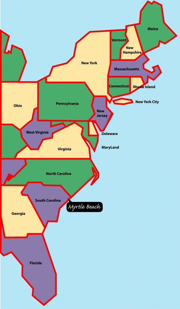 East+Coast+Map | Myrtle Beach Is Situated On The East, Or Atlantic - Myrtle Beach Florida Map