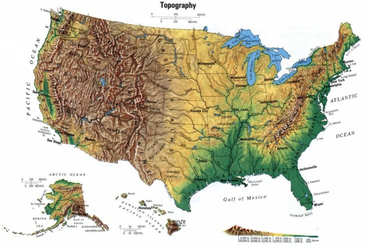 Printable Topographic Map Of The United States