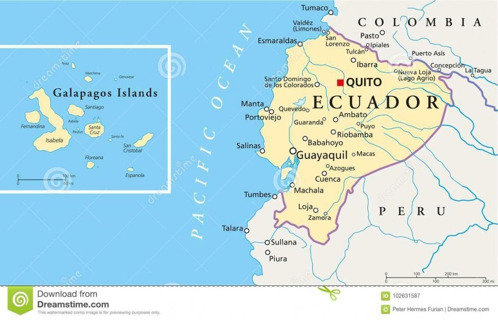 Ecuador And Galapagos Islands Political Map Stock Vector - Printable Map Of Galapagos Islands