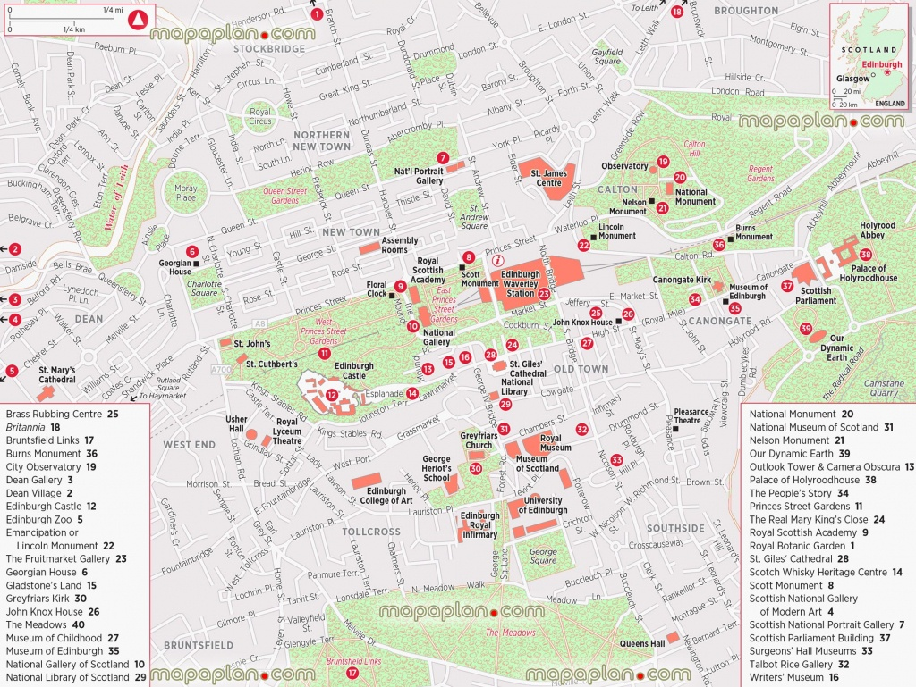 Edinburgh Maps - Top Tourist Attractions - Free, Printable City - Edinburgh Street Map Printable