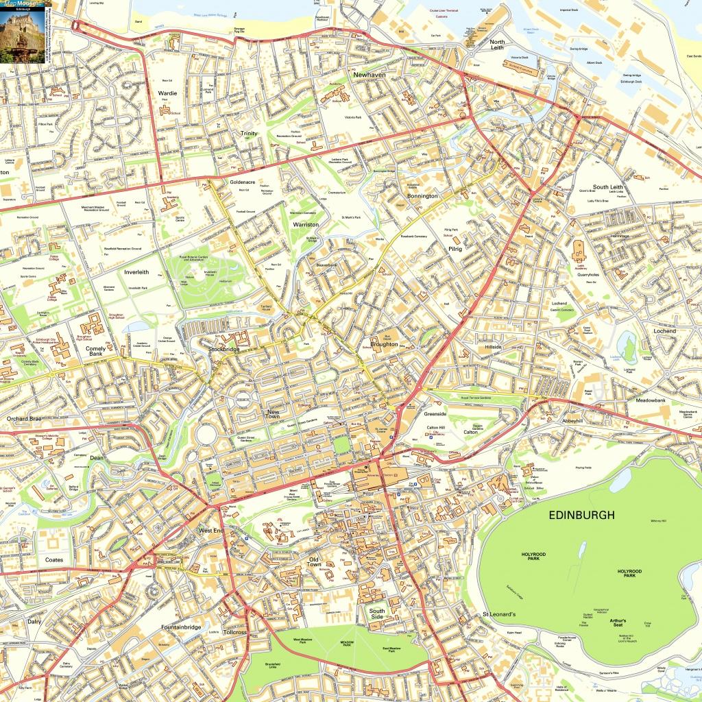 Edinburgh Offline Street Map, Including Edinburgh Castle, Royal Mile - Printable Map Of Edinburgh