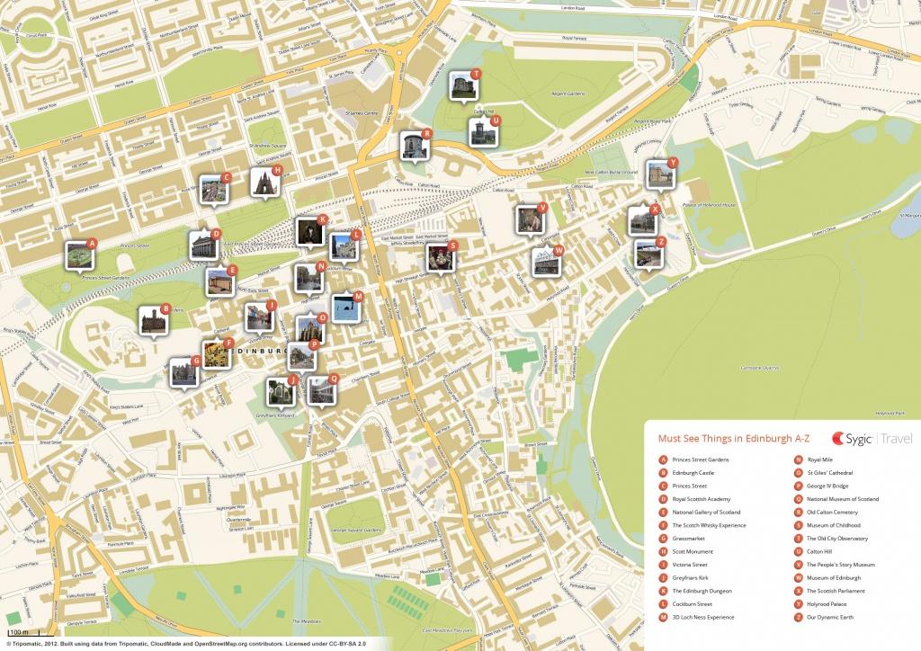 Edinburgh Printable Tourist Map   Sygic Travel - Printable Map Of Edinburgh