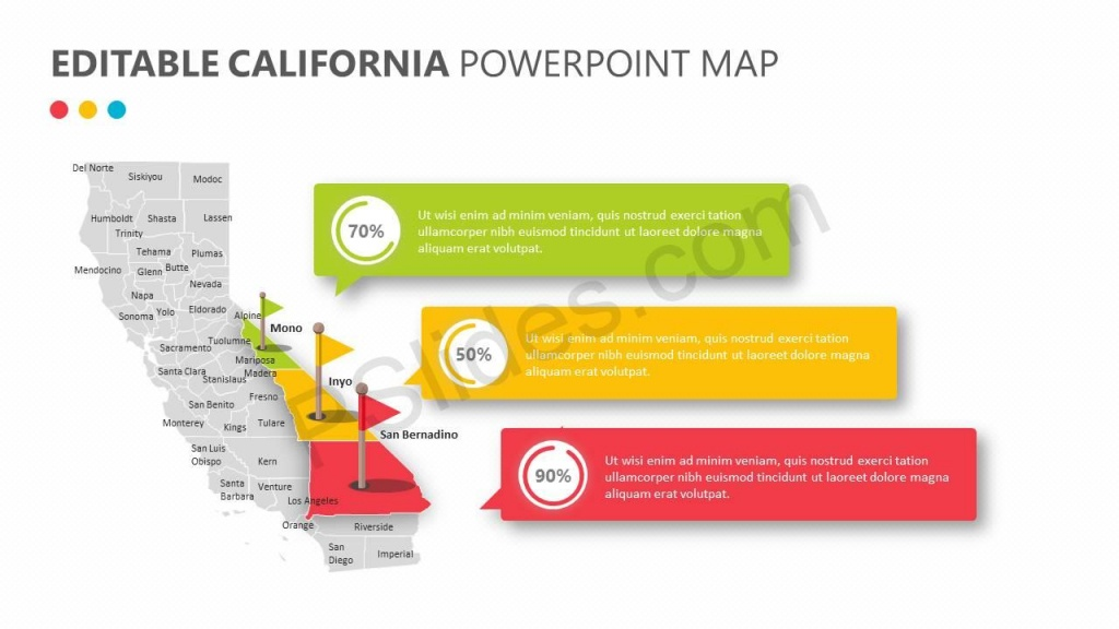 Editable California Powerpoint Map | Pslides - Free Editable Map Of California Counties