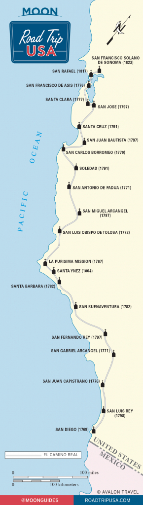 El Camino Real And The California Missions | Road Trip Usa - California Missions Map Printable