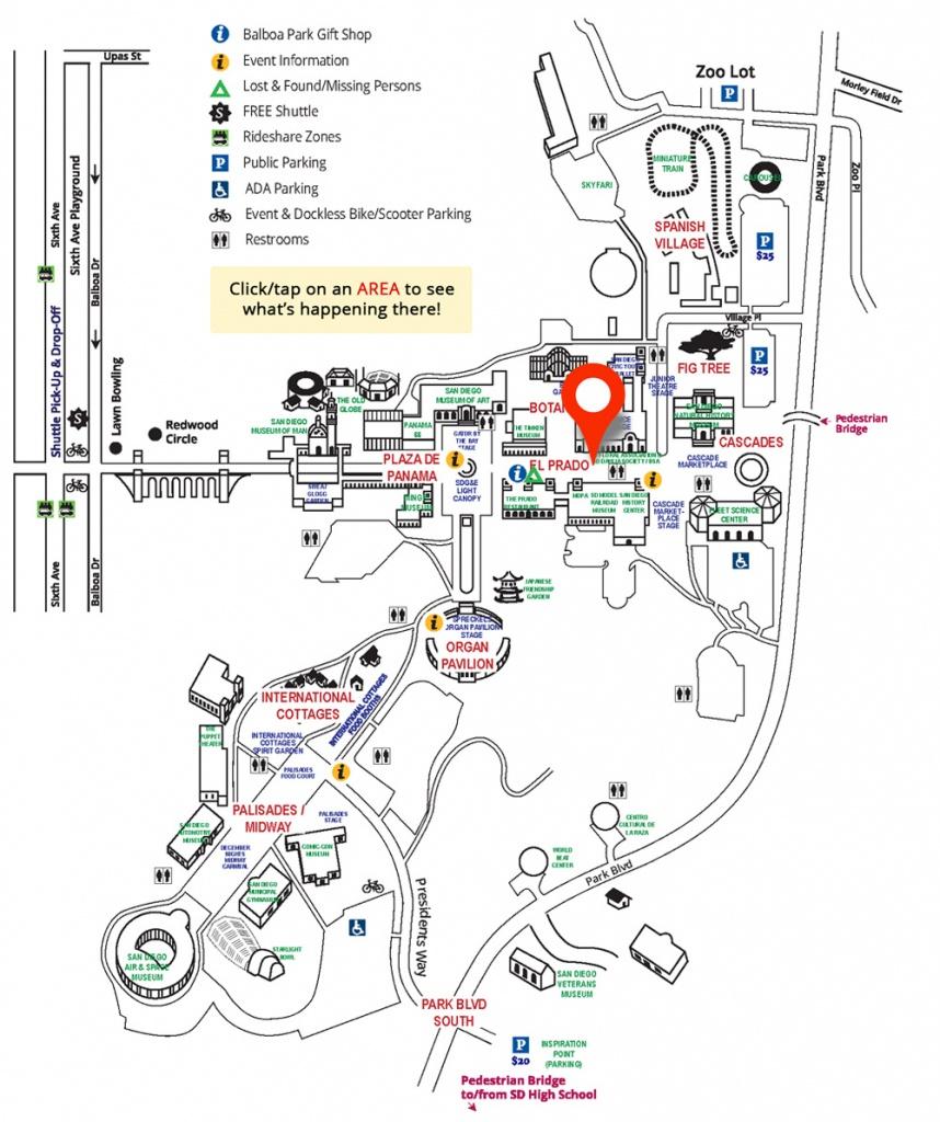 El Prado Area On Map - Balboa Park December Nights   City Of San - Map Of Balboa Park San Diego California
