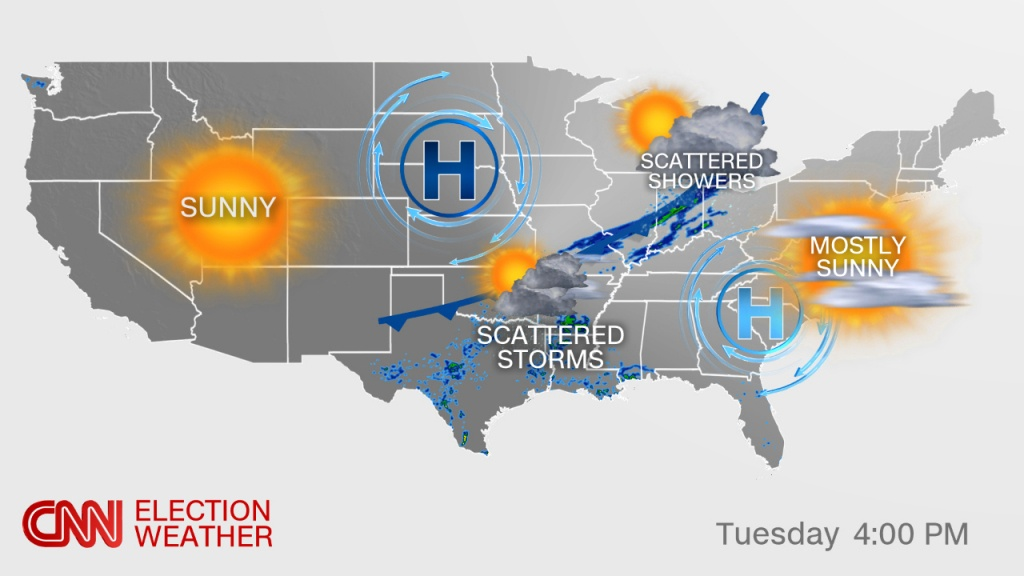 Election Day Forecast: Rain Possible For A Few Key States - Cnnpolitics - Florida State Weather Map