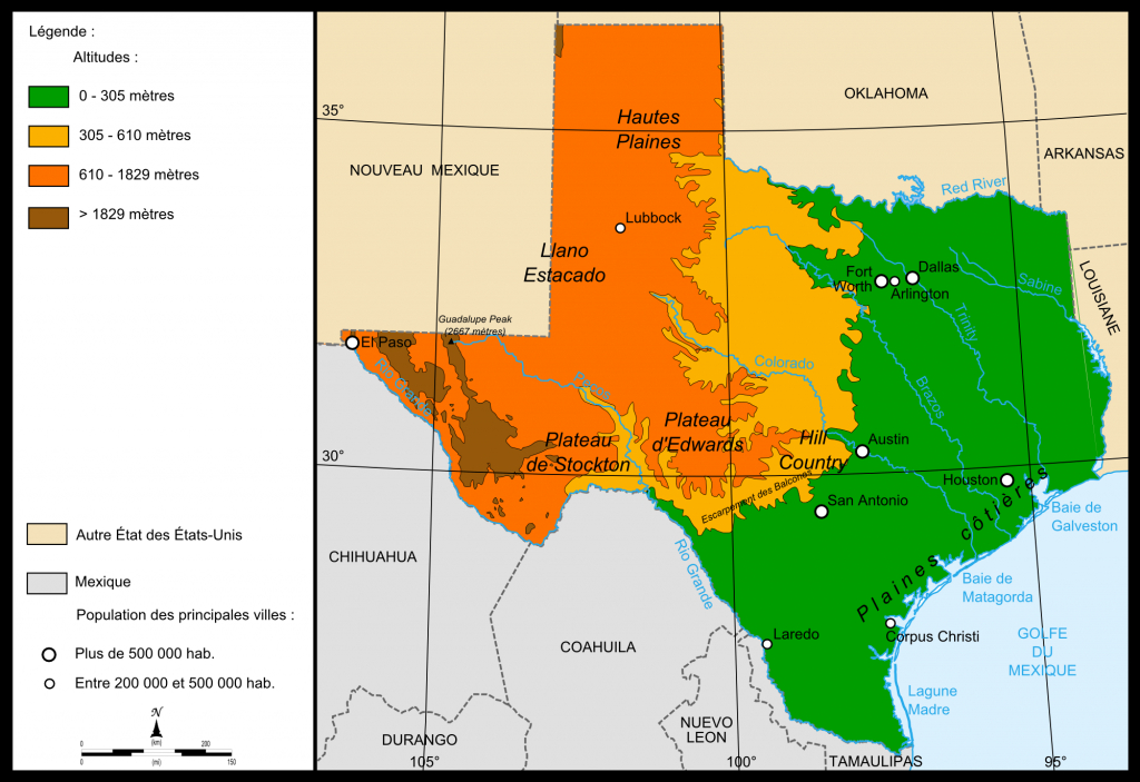 Elevation Map Of Texas | Kristen | Map, Texas, Diagram - Texas Elevation Map By County