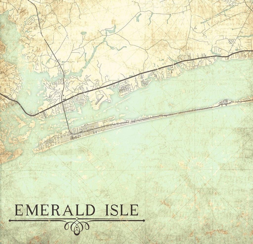Emerald Isle Nc Canvas Print Nc North Carolina Vintage Map Wall Art - Emerald Isle Florida Map