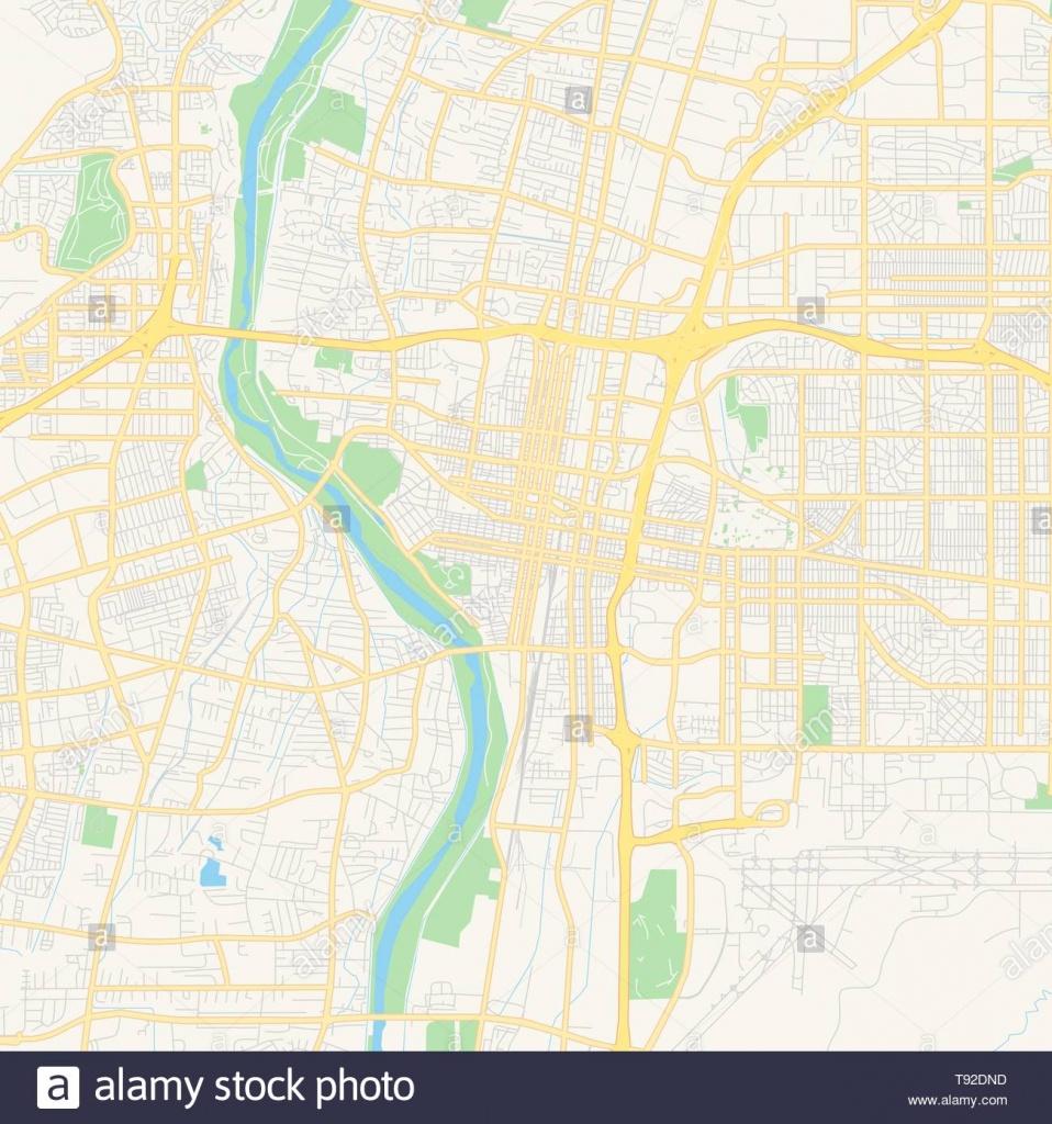 Empty Vector Map Of Albuquerque, New Mexico, Usa, Printable Road Map - Printable Map Of Albuquerque